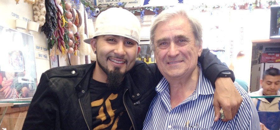 San Francisco Giant's Sergio Romo with John, owner of Submarine Center
